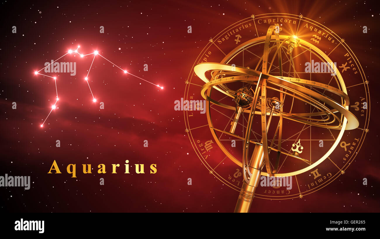 Armillary Sphere And Constellation Aquarius Over Red Background - Stock Image