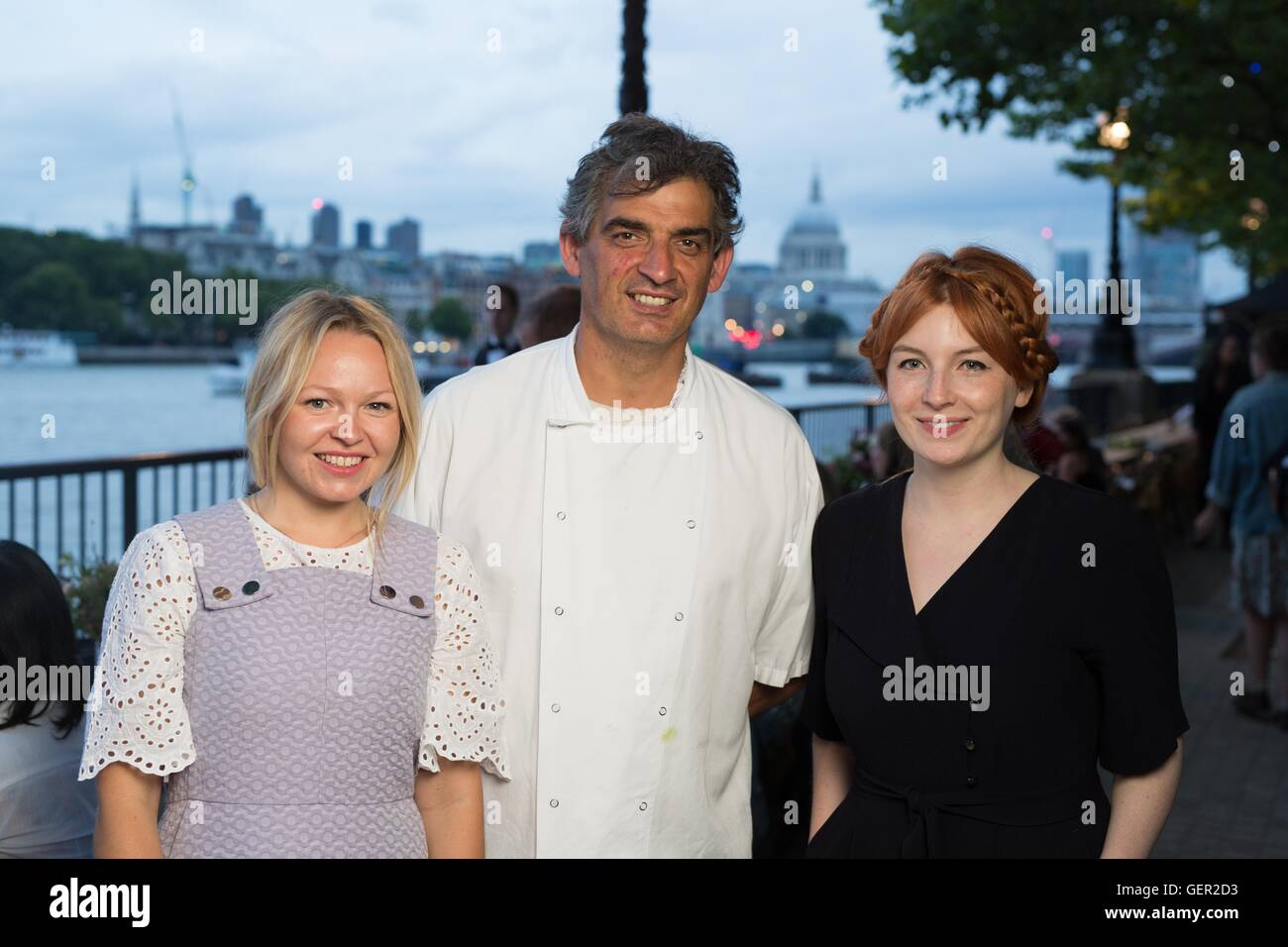 EDITORIAL USE ONLY (left to right) Rosie Birkett, Bruno Loubet head chef at Grainstore and Alice Levine attend La - Stock Image