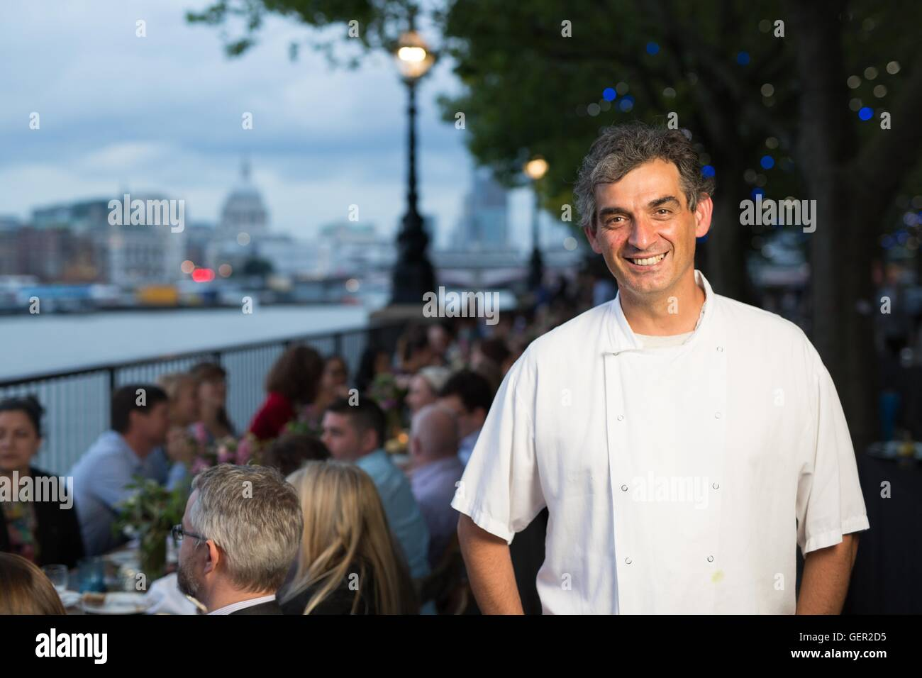 EDITORIAL USE ONLY Bruno Loubet head chef at Grainstore attends La Maison Maille Â'La Rive GaucheÂ' on - Stock Image