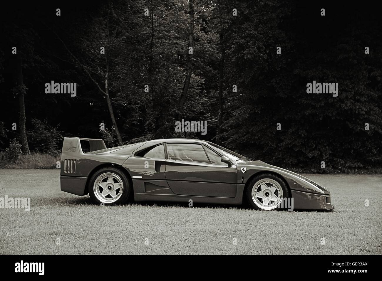Black And White Side On Shot Of A Ferrari F40 Parked On Grass With Stock Photo Alamy