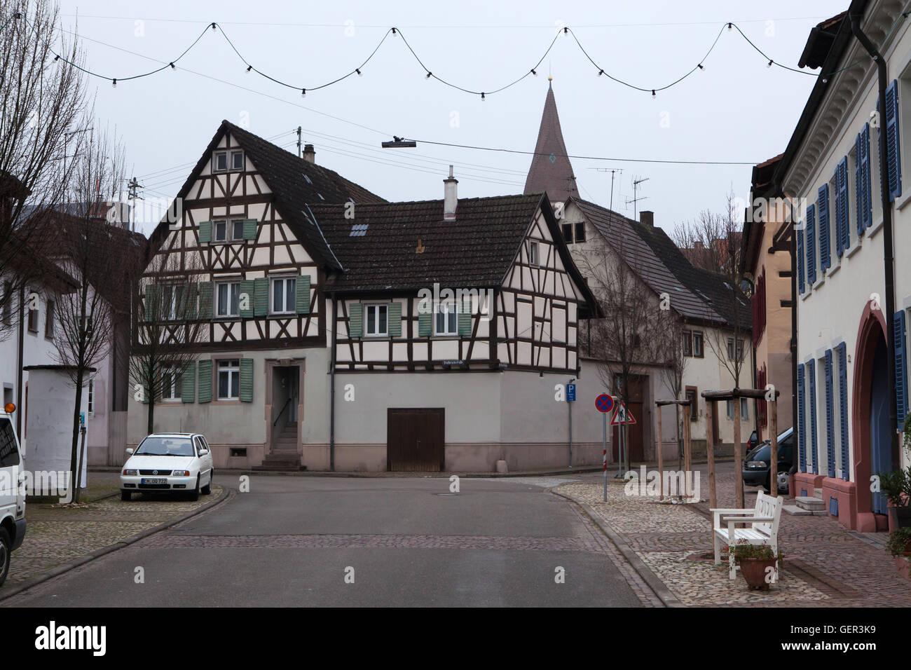 Traditional half-timbered houses in Endingen am Kaiserstuhl, Baden-Wurttemberg, Germany. - Stock Image