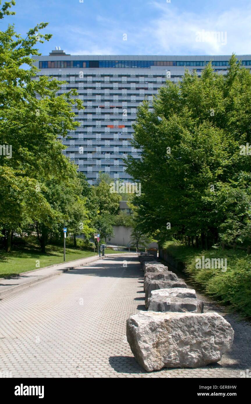 geography / travel, Germany, Bavaria, Munich, Arabella multi-storey building, Bogenhausen, Arabellapark, Toby Schmidbauer, - Stock Image