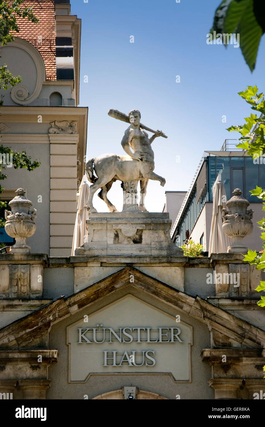 geography / travel, Germany, Bavaria, Munich, Kuenstlerhaus at Lenbachplatz (House of Artists), Altstadt, - Stock Image