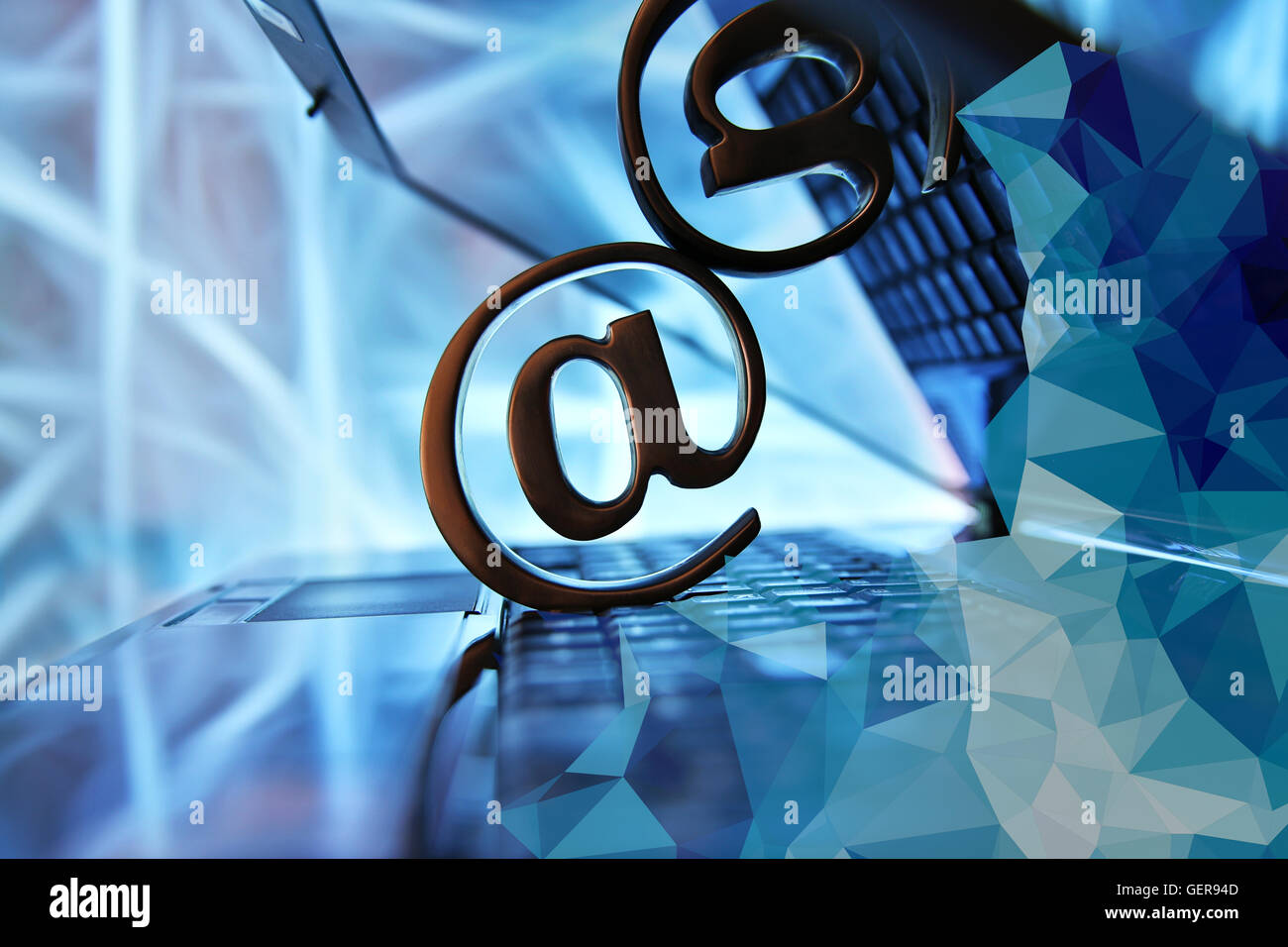 email sign with notebook - Stock Image