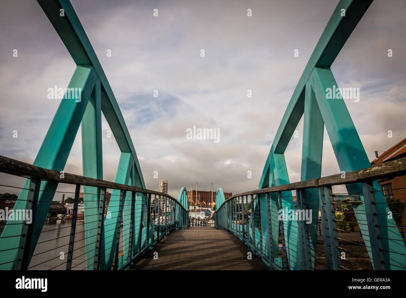 Green steel bridge in Bristol harbour, England, UK Stock Photo