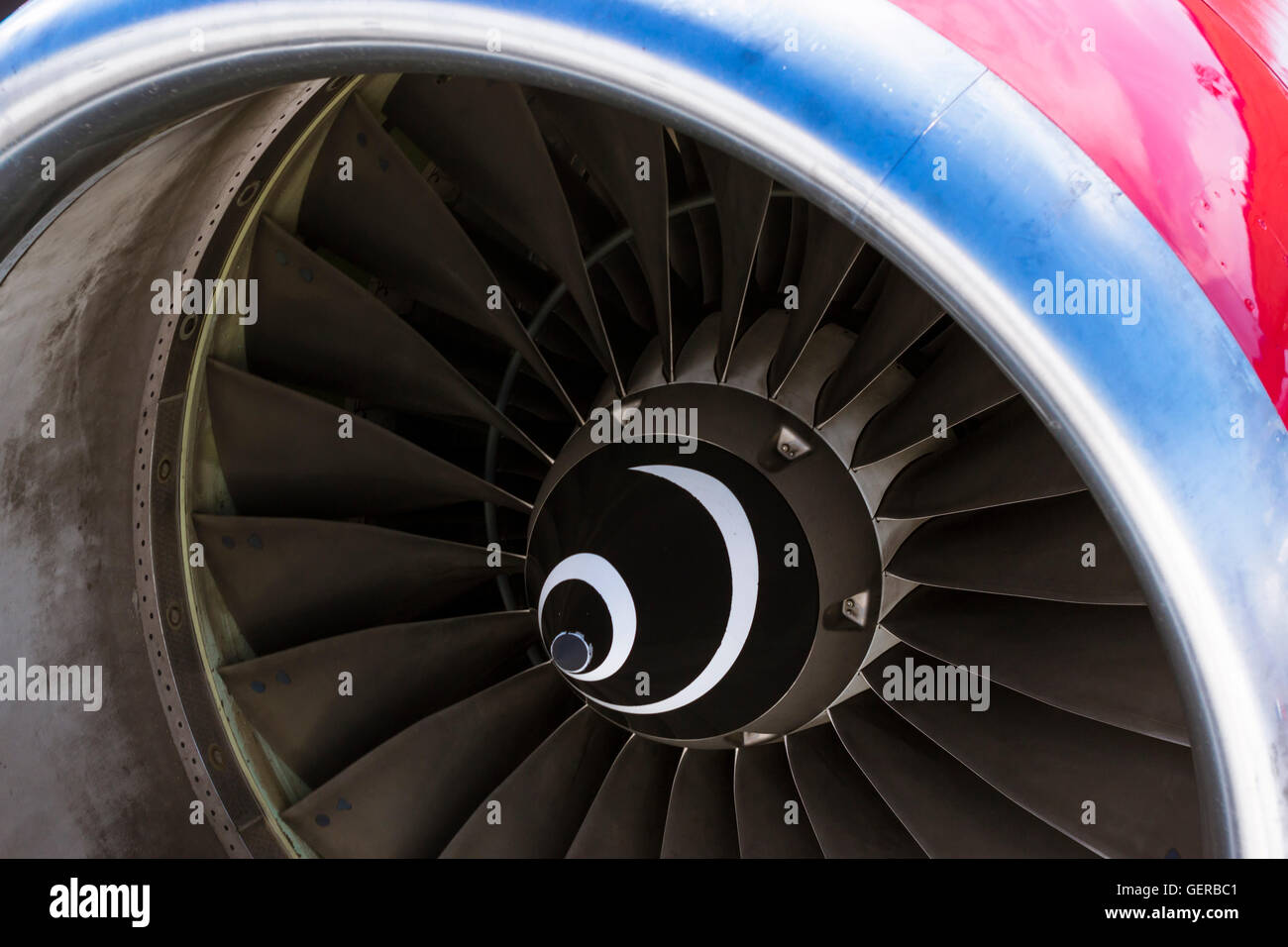 Turbine blades jet engine aircraft civil. Aircraft on pre-flight preparation at Heraklion Airport N. Kazantzakis. - Stock Image