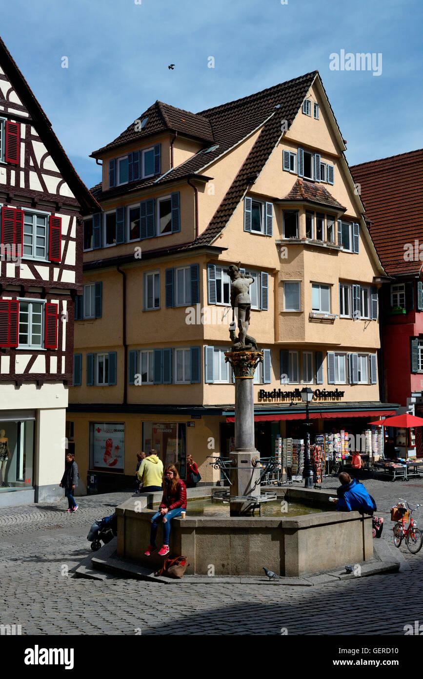 Brunnen St. Georg der Drachentoeter, Altstadt, Tuebingen, Baden-Wuerttemberg, Schwaebische Alb, Deutschland - Stock Image