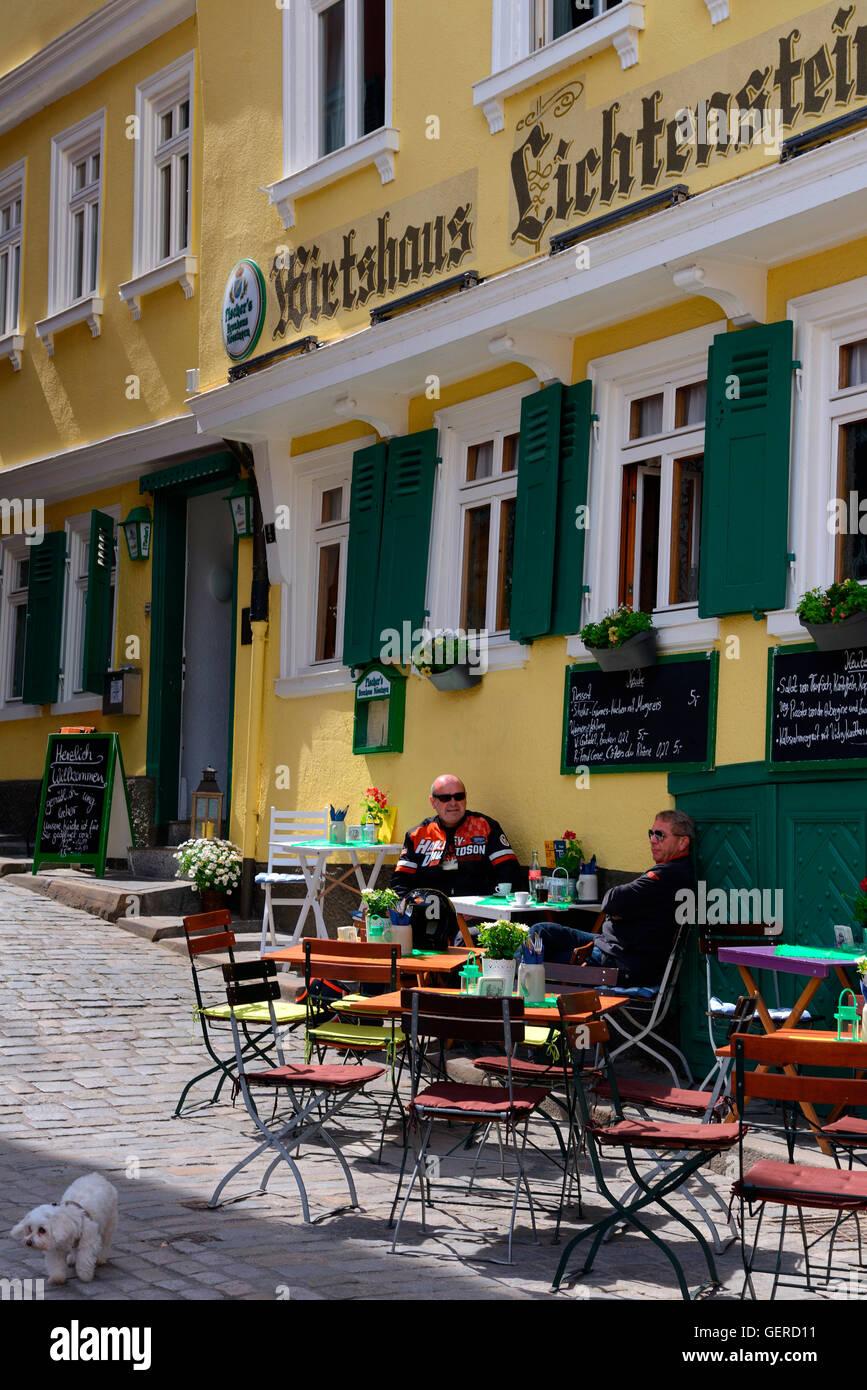 Restaurant am Marktplatz, Altstadt, Tuebingen, Baden-Wuerttemberg, Schwaebische Alb, Deutschland - Stock Image
