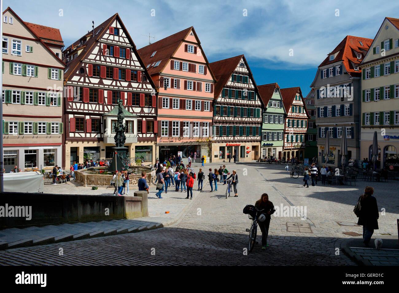 Marktplatz mit Neptunbrunnen, Marktbrunnen, Altstadt, Tuebingen, Baden-Wuerttemberg, Schwaebische Alb, Deutschland - Stock Image