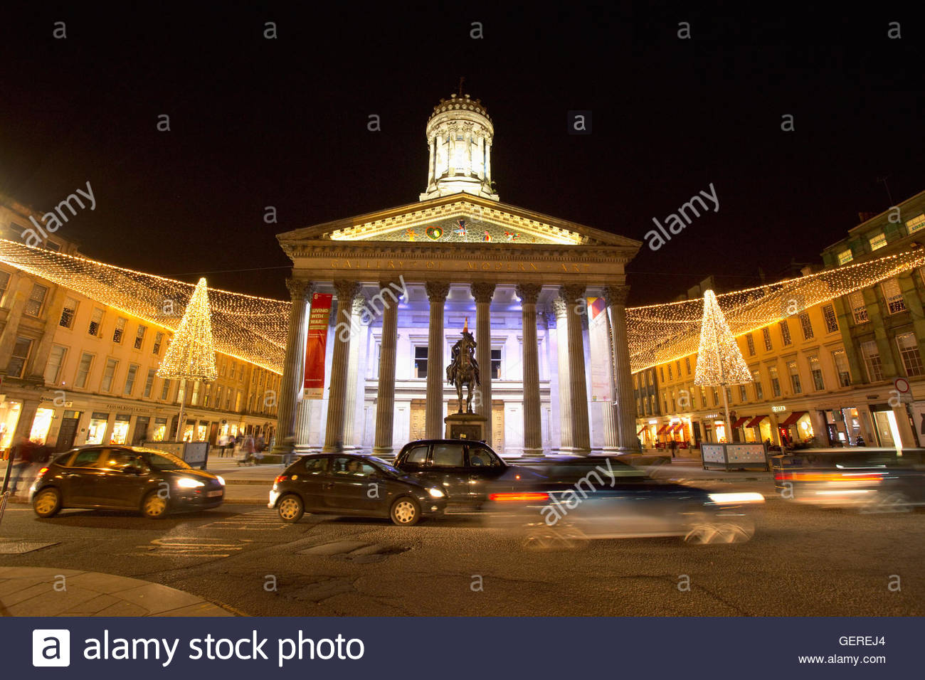 The canopy of lights surrounding the Gallery of Modern Art in Royal Exchange Square during the Christmas celebrations in the cit & The canopy of lights surrounding the Gallery of Modern Art in Royal ...