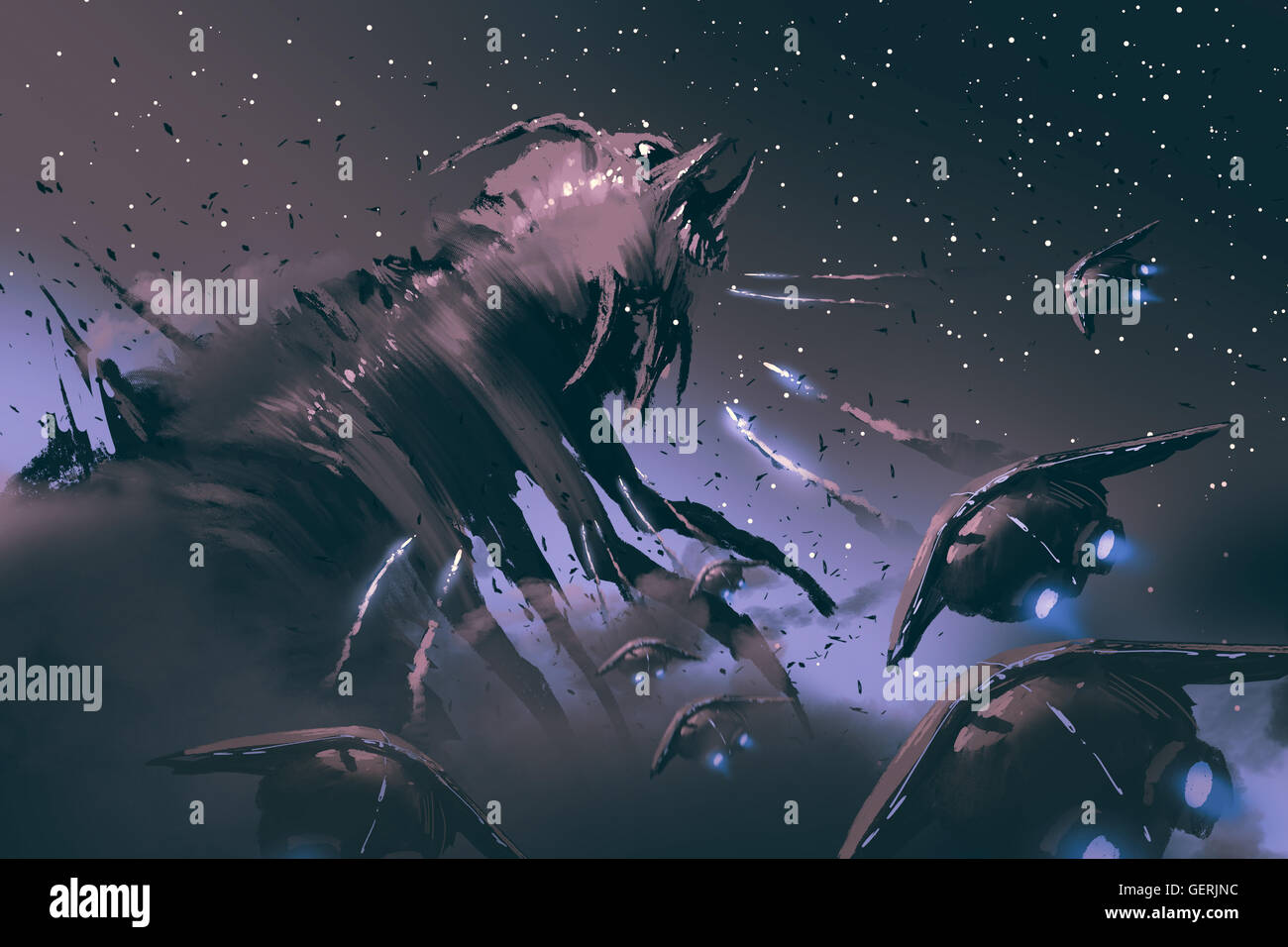 battle between spaceships and  insect creature,sci-fi concept illustration painting - Stock Image