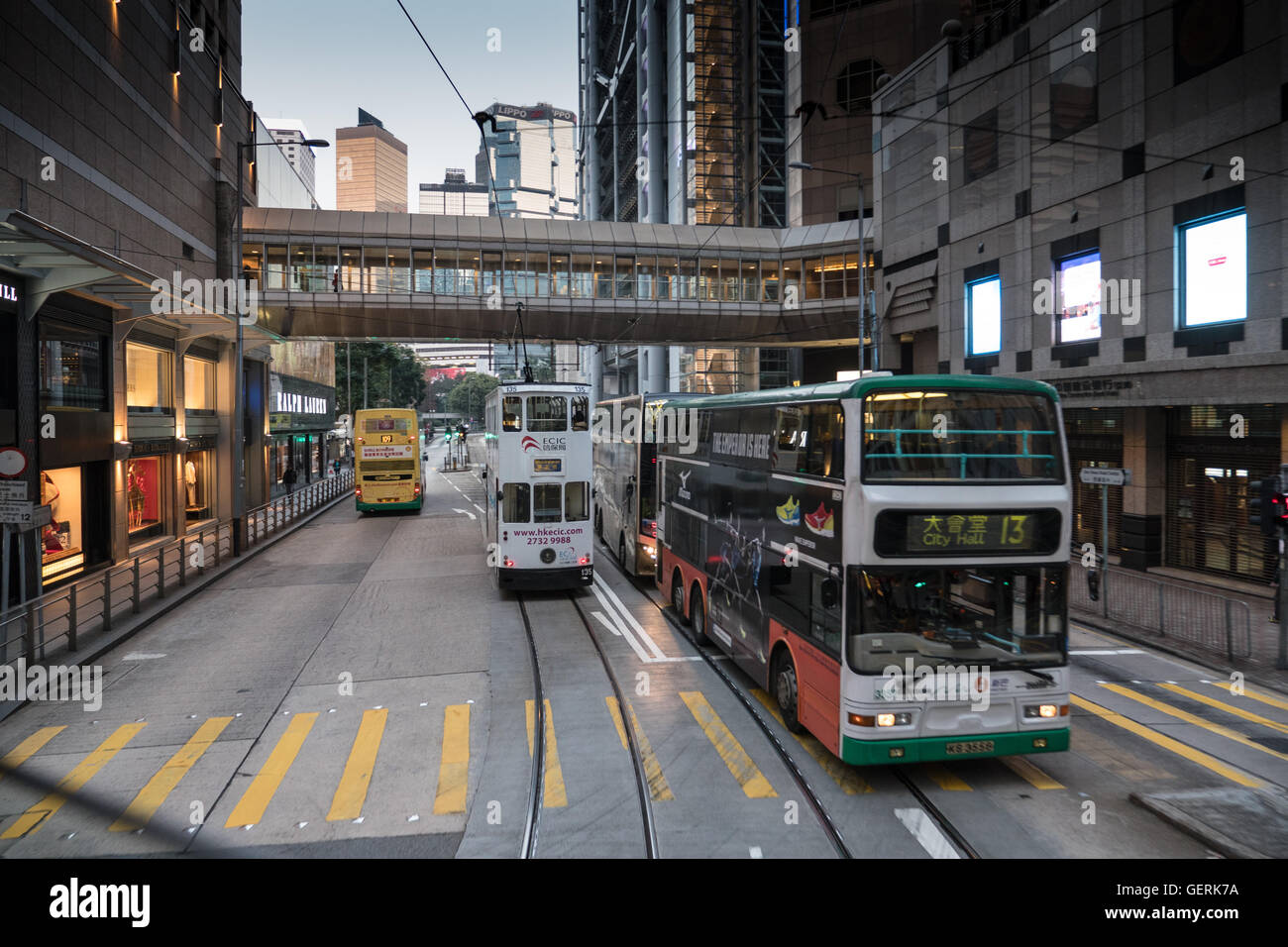 Trams and buses in Honk Kong, China. - Stock Image