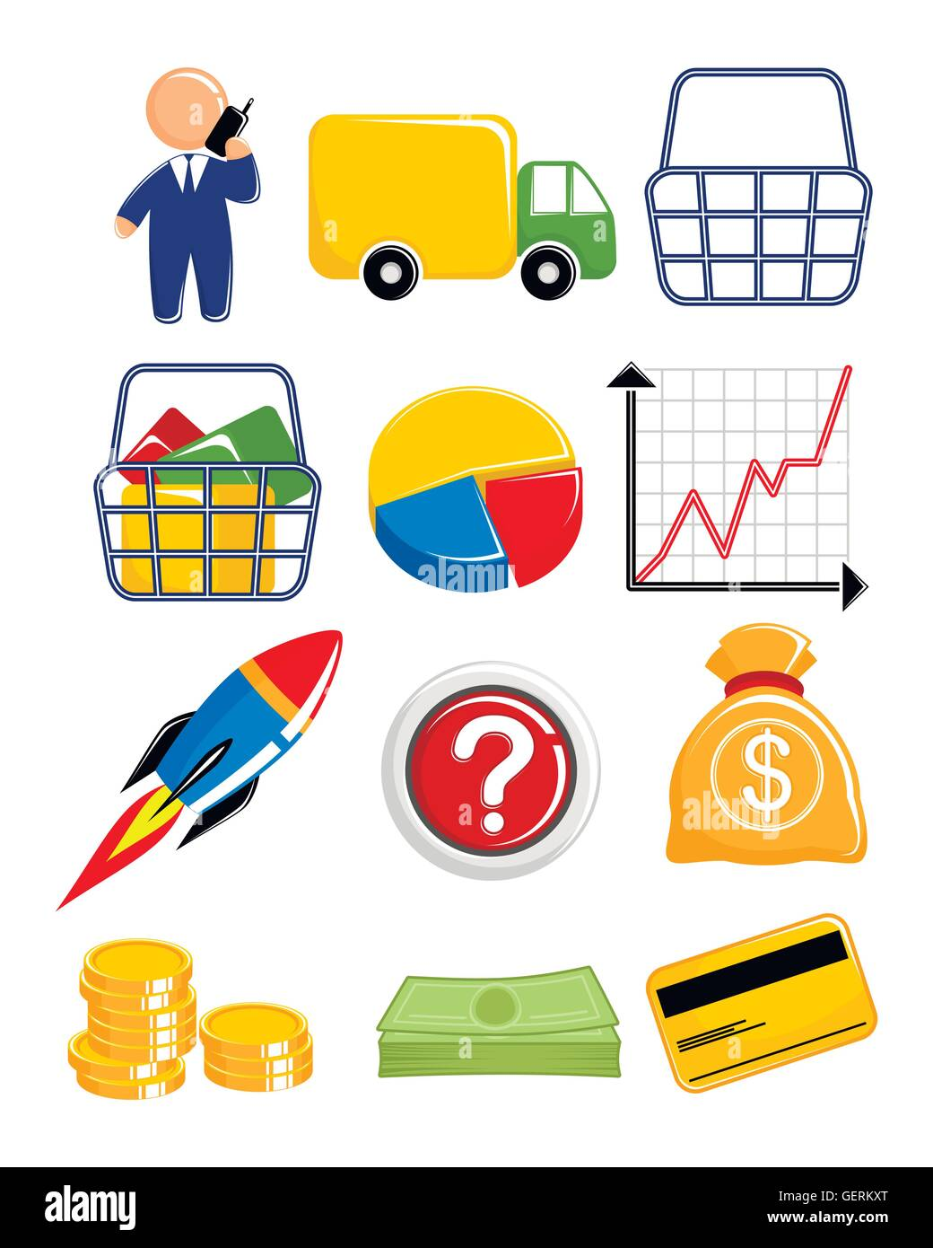 Vector illustration of a web icons set - Stock Vector