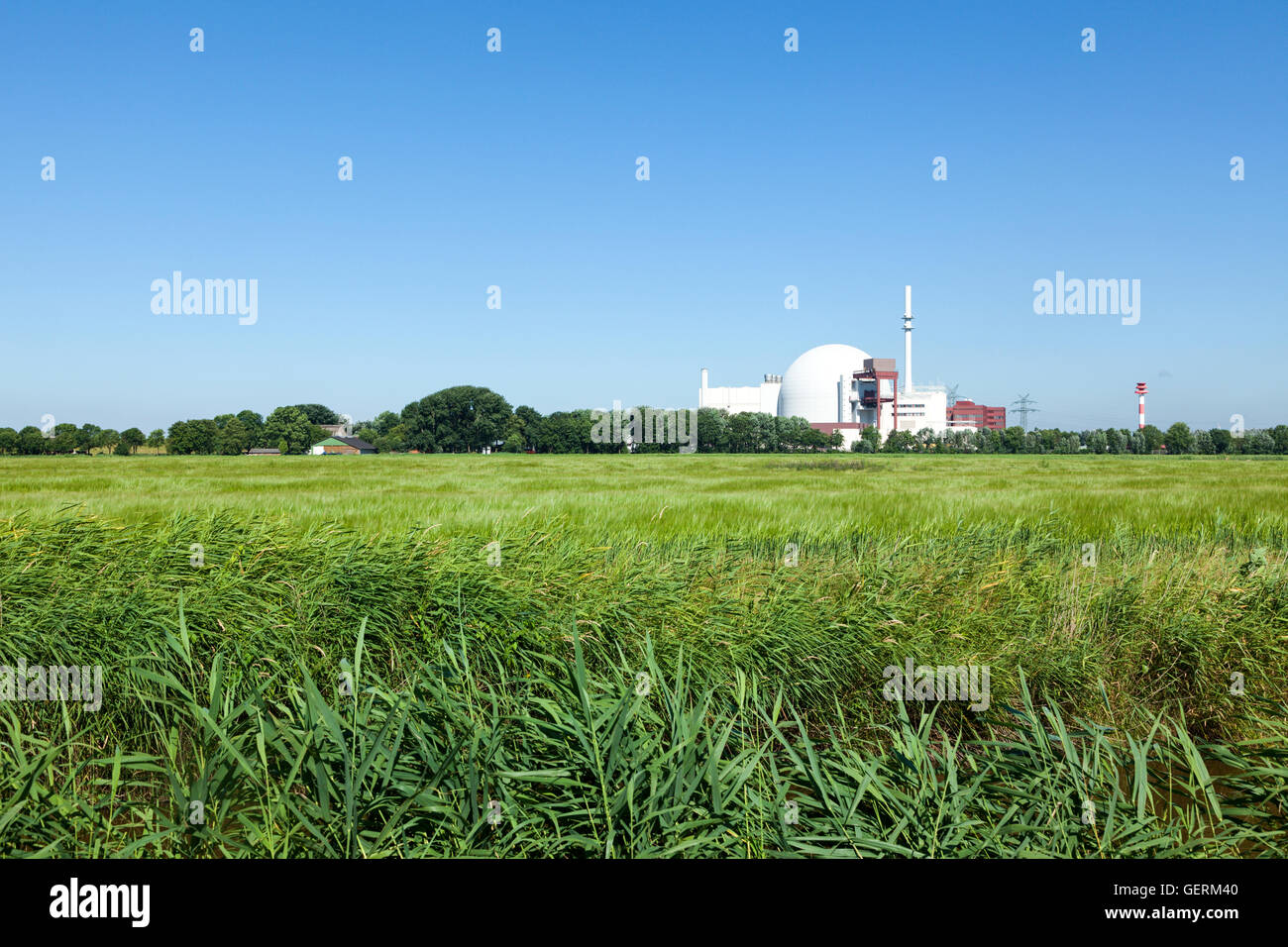 Brokdorf, Germany - July 20, 2016: Nuclear Power plant at Brokdorf, erected in 1986, today operated by E.ON - Stock Image
