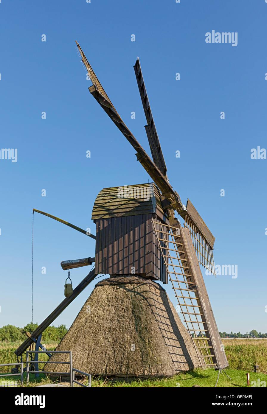 Historic scoop mill at Honigfleth, near Wilster, Schleswig-Holstein - Stock Image