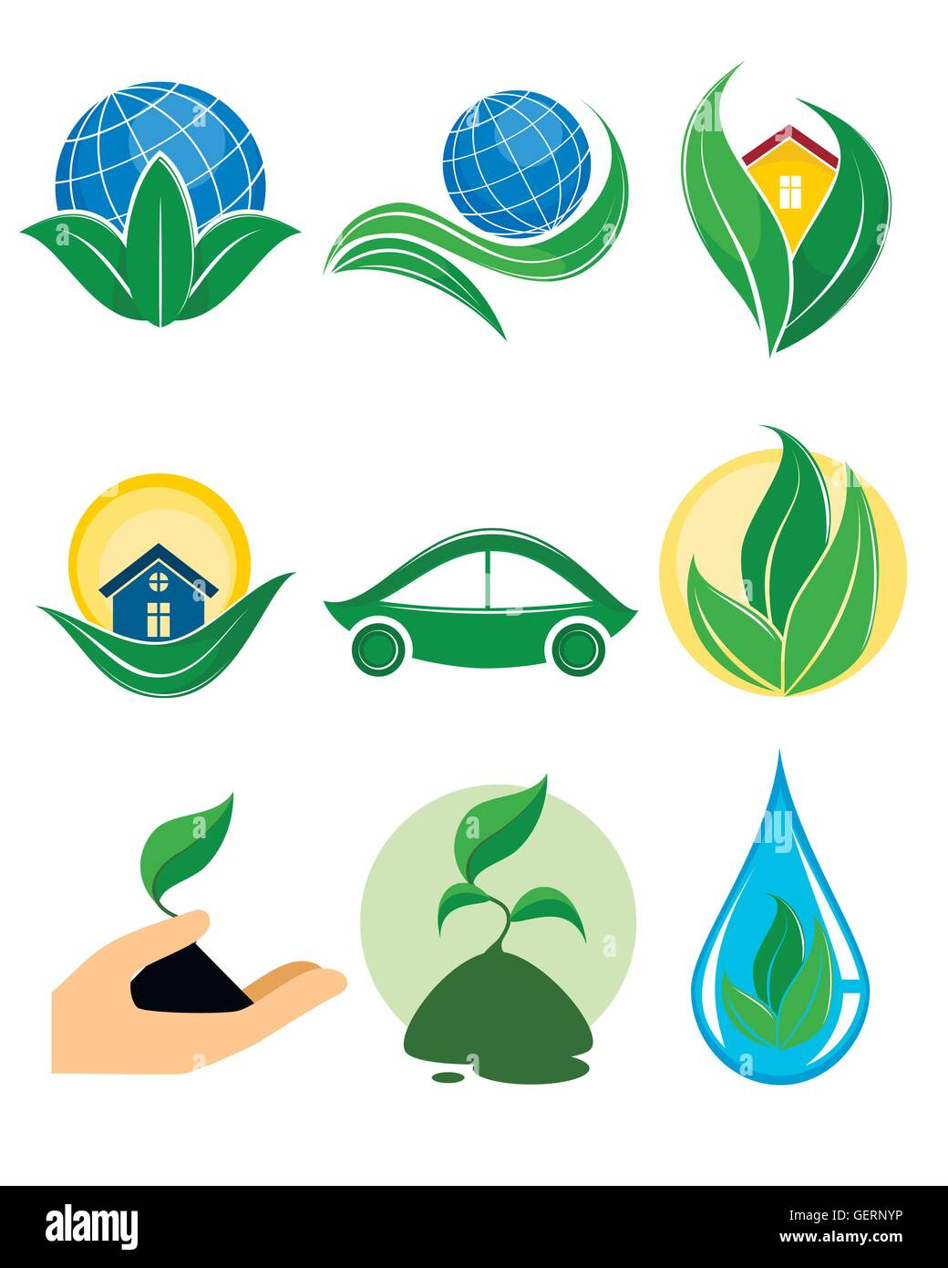 Vector illustration of a nine eco logotypes - Stock Image