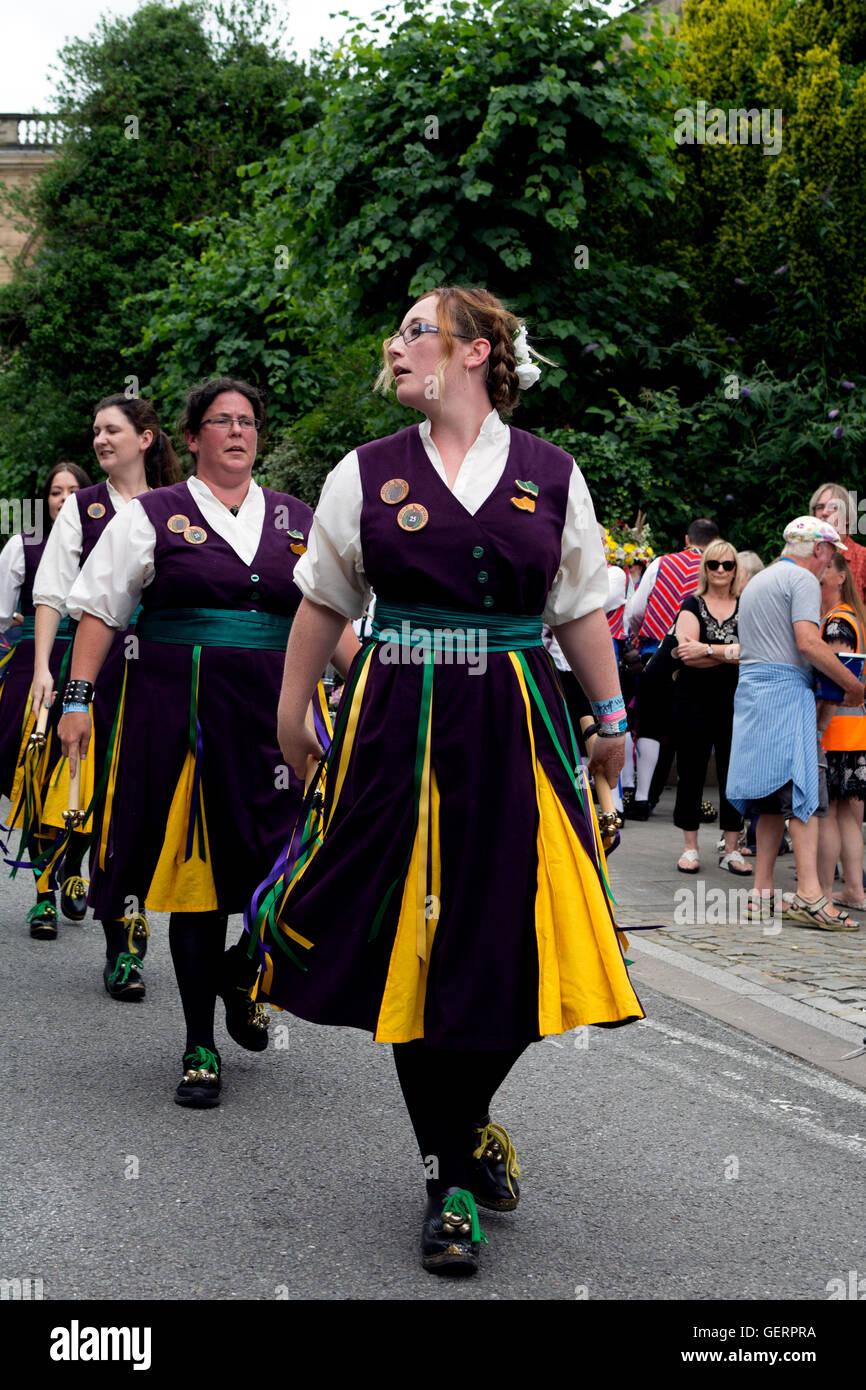 Belle D`Vain Clog Morris Dancers at Warwick Folk Festival, UK - Stock Image