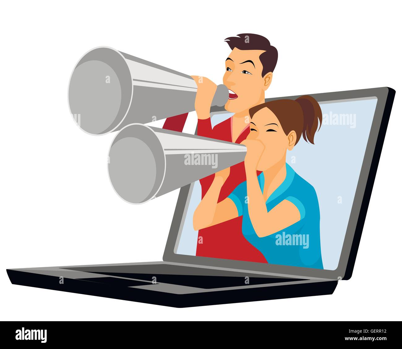 Vector illustration of a young people with mouthpiece - Stock Image
