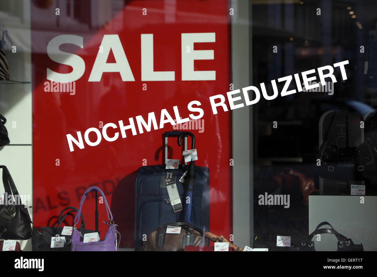 Zuerich, Switzerland, Sale in a leather goods business - Stock Image
