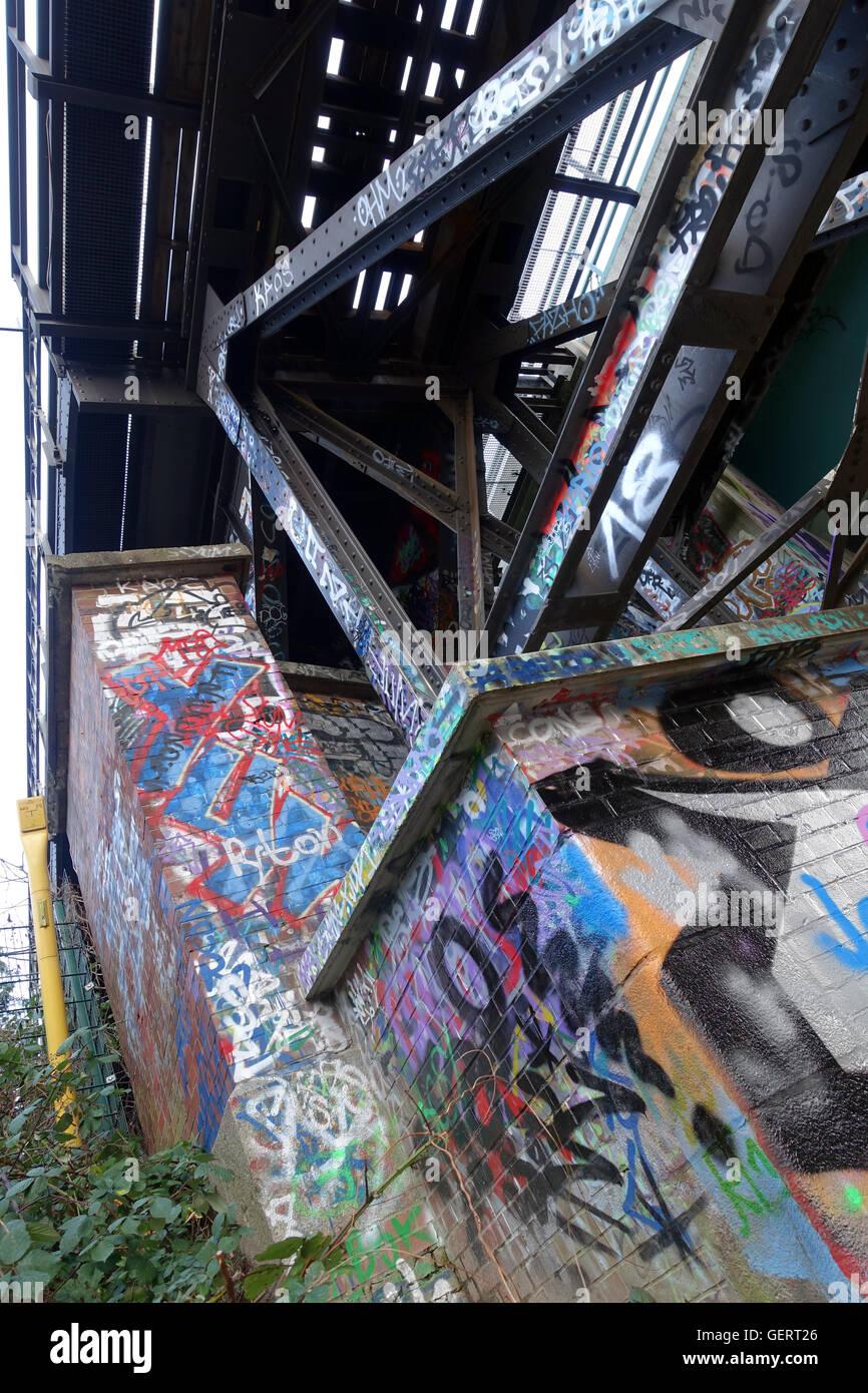 Berlin, Germany, graffiti on a wall under a Stahlbruecke Stock Photo