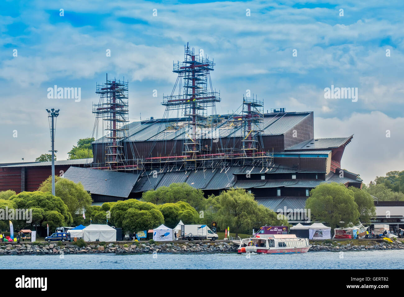 Masts Protruding From Building Vasa Museum Stockholm Sweden - Stock Image