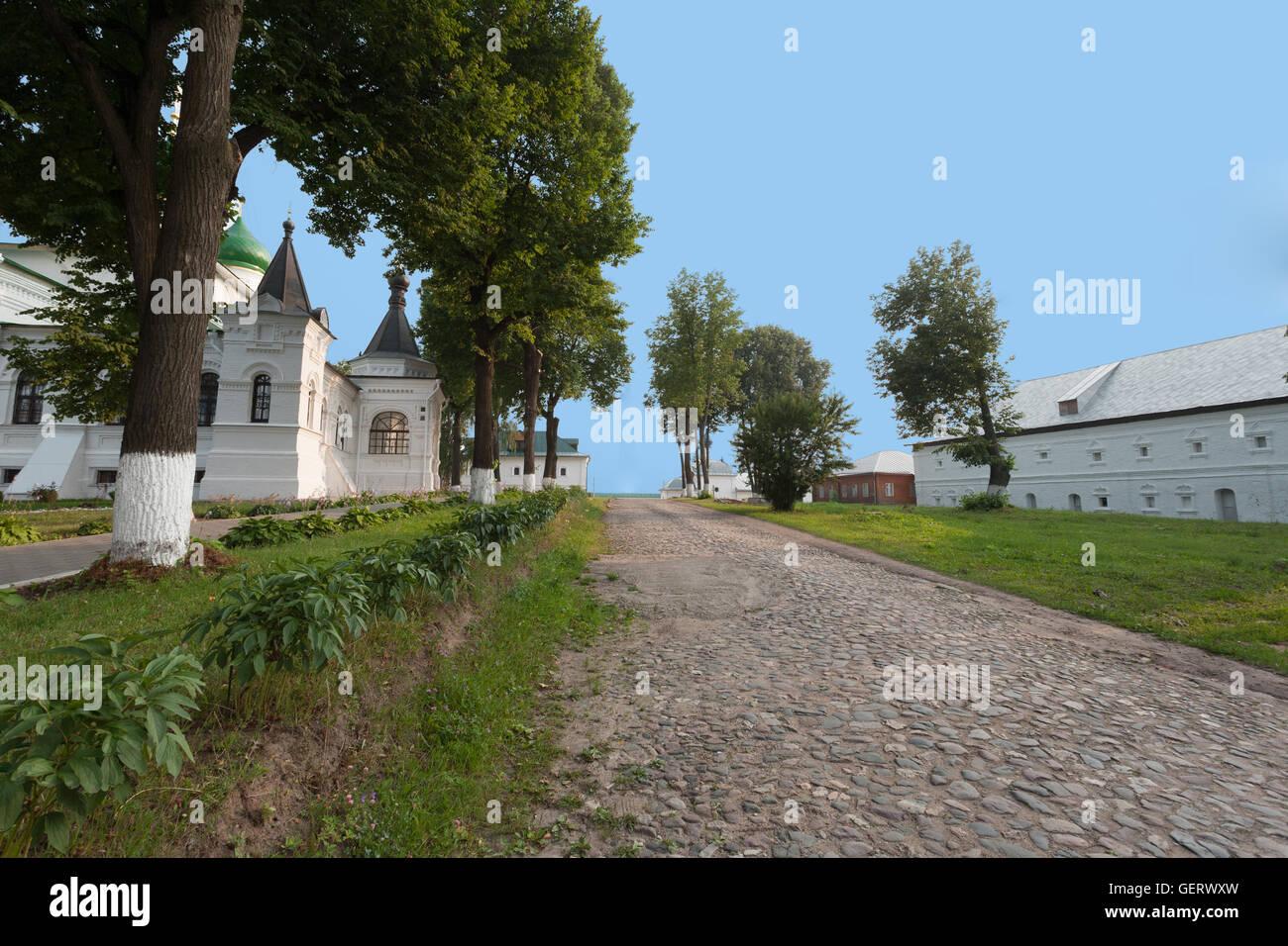 stone monastery road - Stock Image