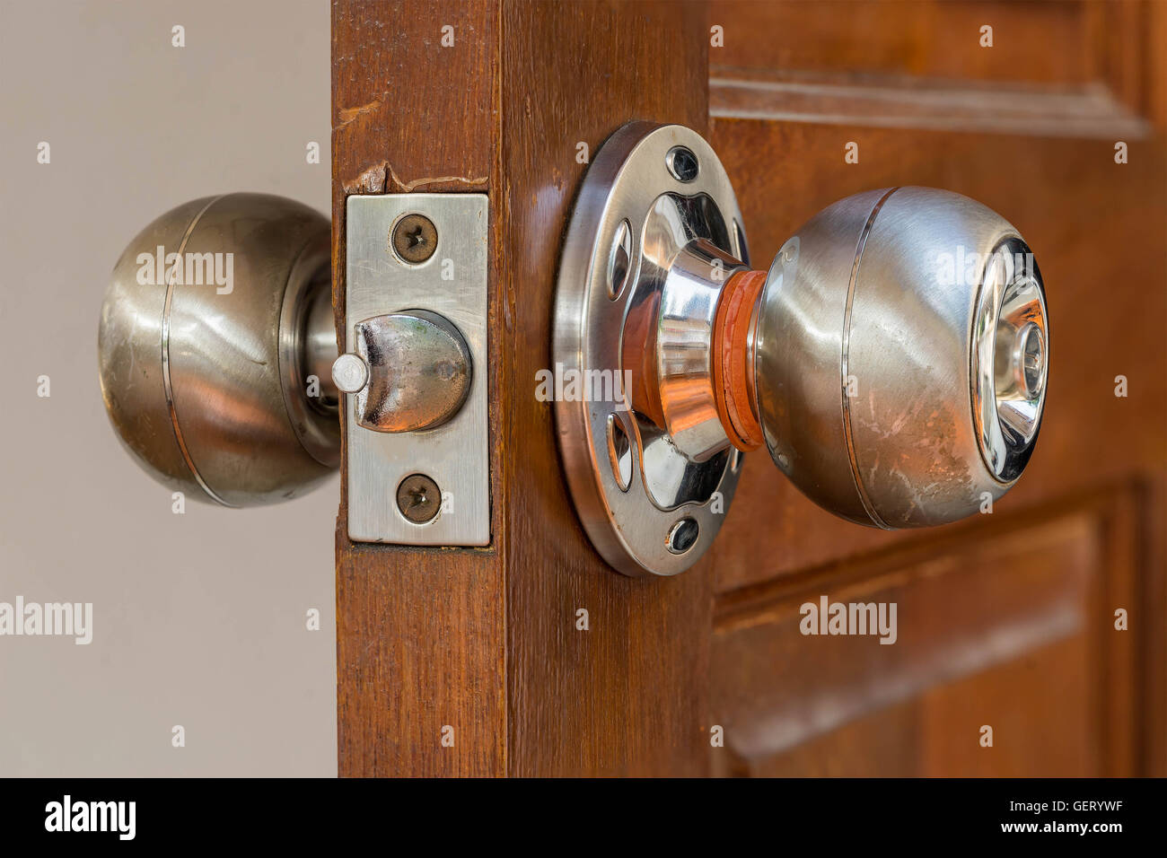 Closeup Locksmith And Silver Knob On Old Wood Door , Need To Repair By  Professional