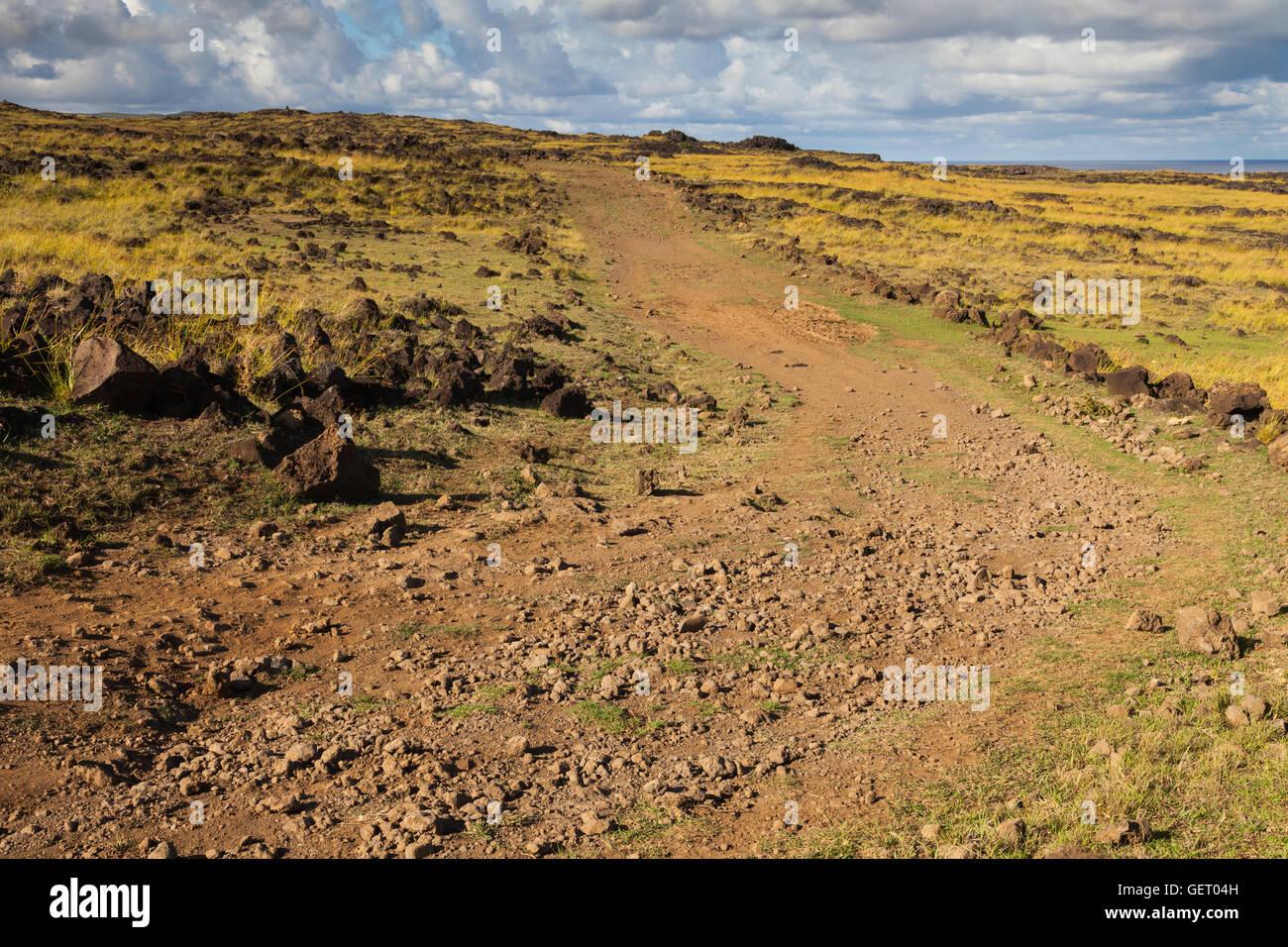 coastal path on Easter Island - Stock Image