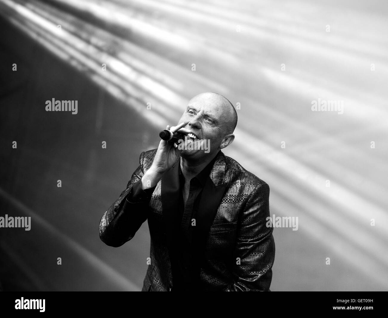 Glen Gregory of Heaven 17,sings at The Rewind Festival,Scone Palace,Perth,Scotland - Stock Image