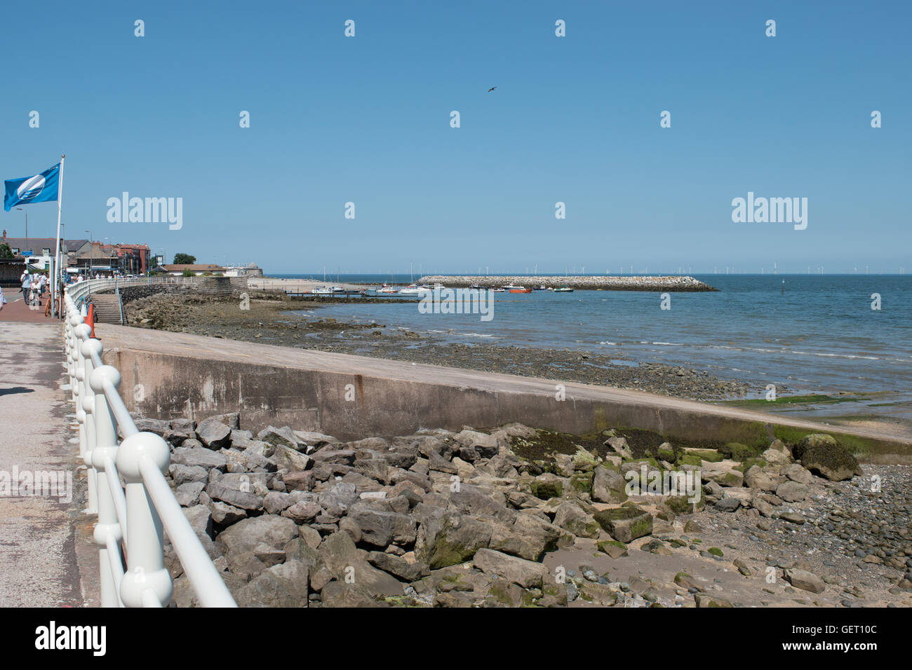 View towards breakwater at Rhos on Sea, Colwyn Bay North Wales Stock Photo