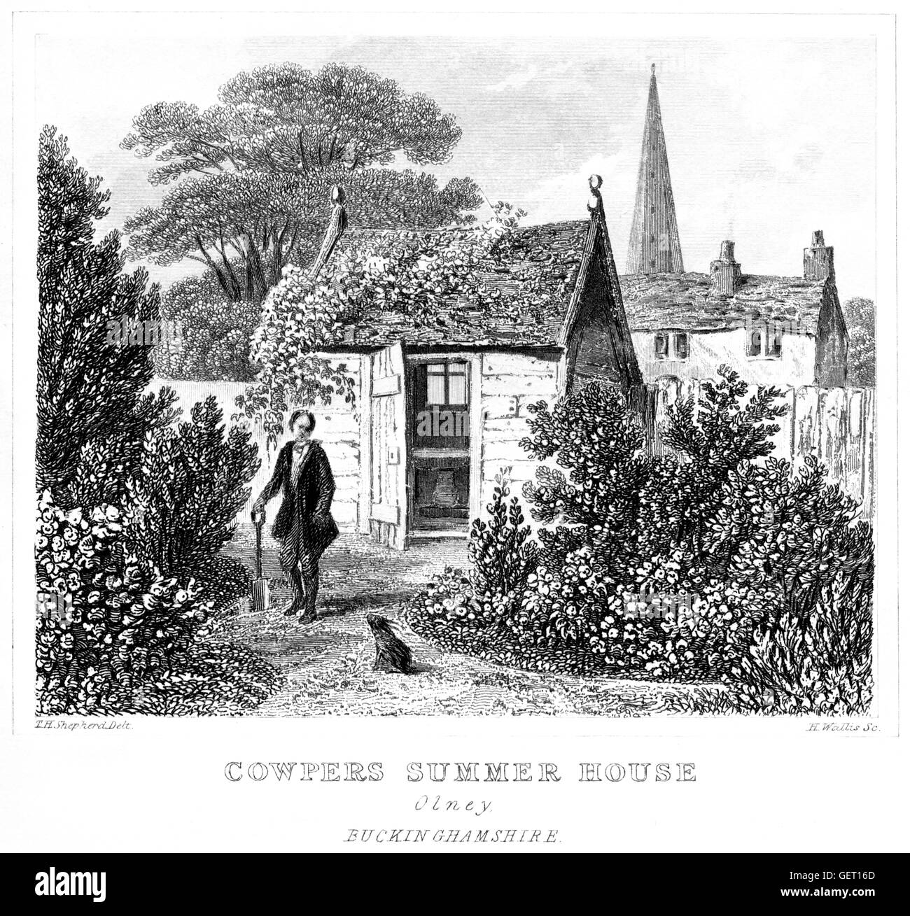 An engraving of Cowpers Summer House, Olney, Buckinghamshire scanned at high resolution from a book printed in 1846. - Stock Image