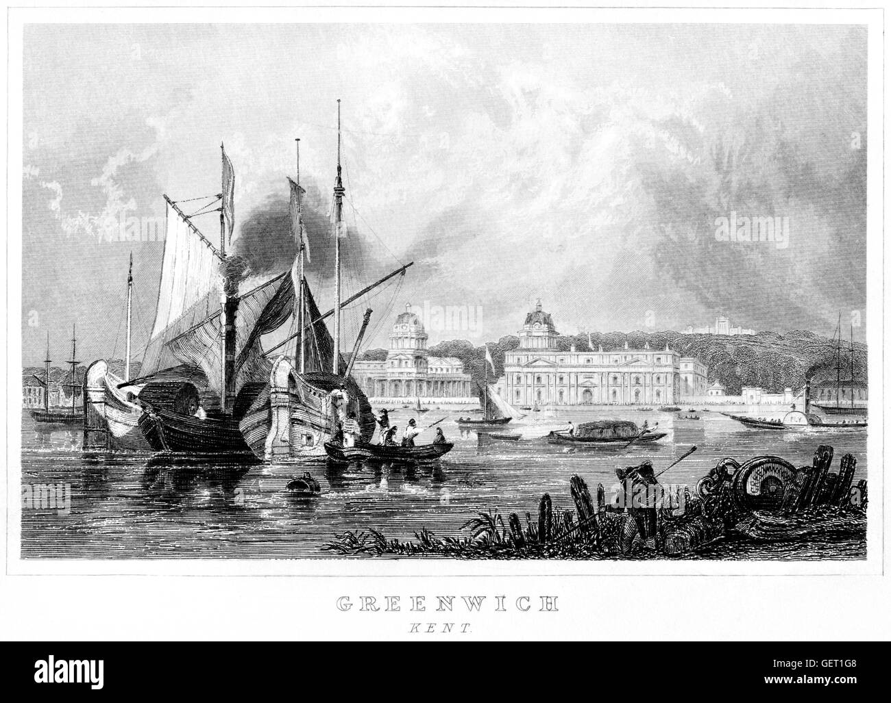 An engraving of Greenwich, Kent scanned at high resolution from a book printed in 1846. Believed to be copyright - Stock Image