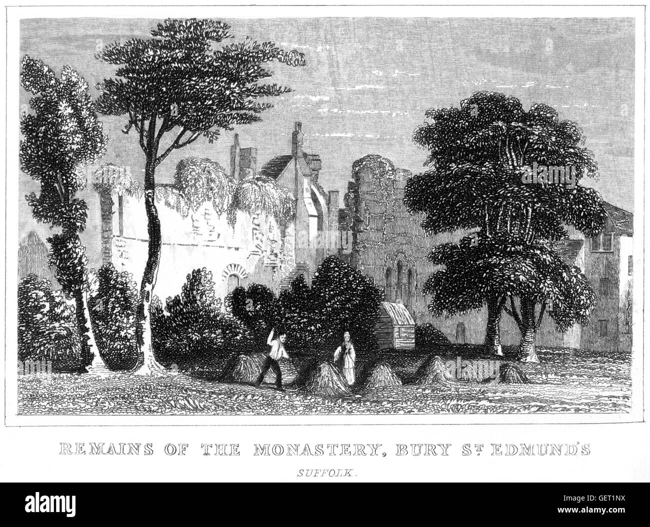 An engraving of the Remains of the Monastery, Bury St. Edmunds, Suffolk scanned at high resolution from a book printed - Stock Image