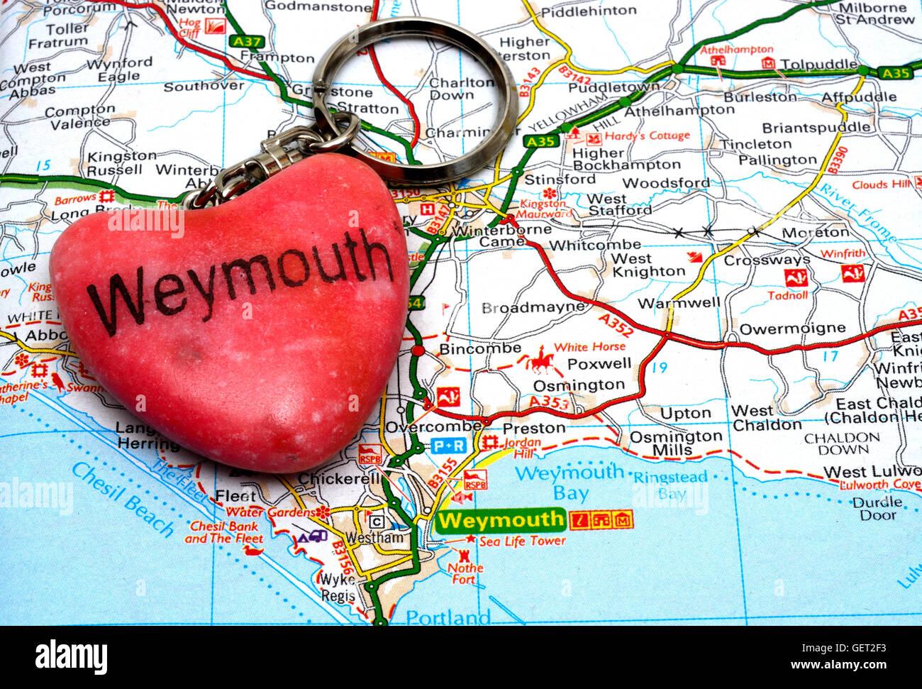 Map Of Uk Dorset.Pink Stone Weymouth Keyring On A Map Weymouth Dorset England Uk