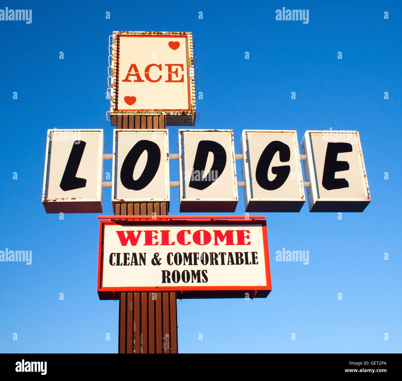Ace Lodge motel sign in Truth or Consequences New Mexico - Stock Image