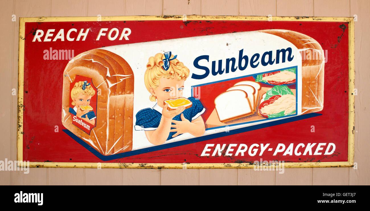 Vintage Sunbeam bread sign in Moab Utah - Stock Image