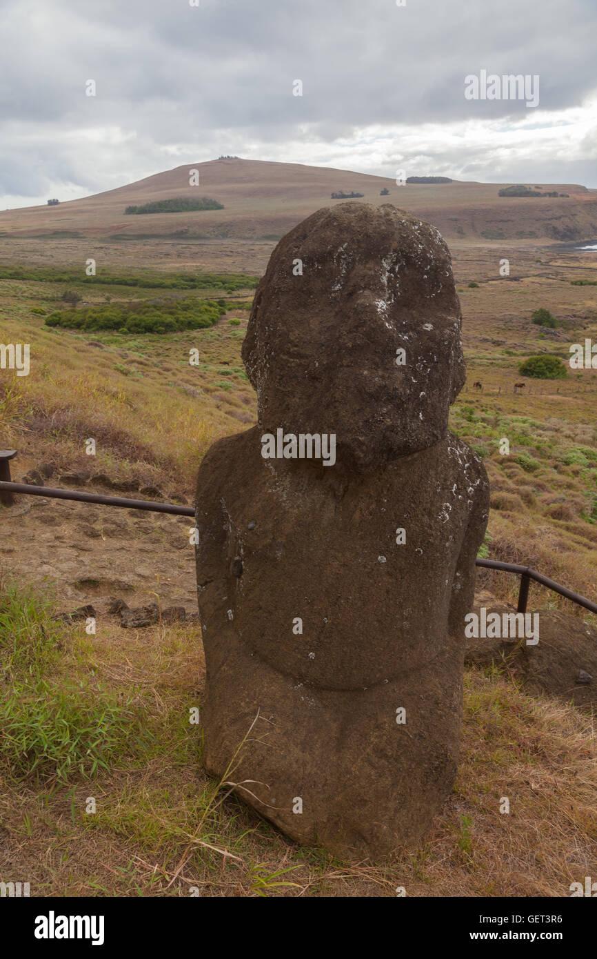 Rano Raraku on Easter Island - Stock Image