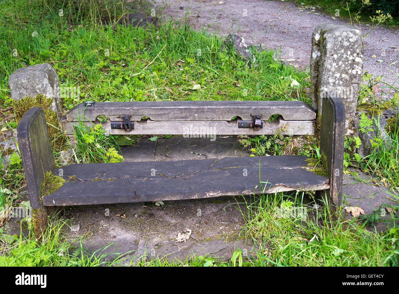 A Set of Stocks in the Village of Arncliffe Yorkshire Dales National Park England United Kingdom UK Stock Photo