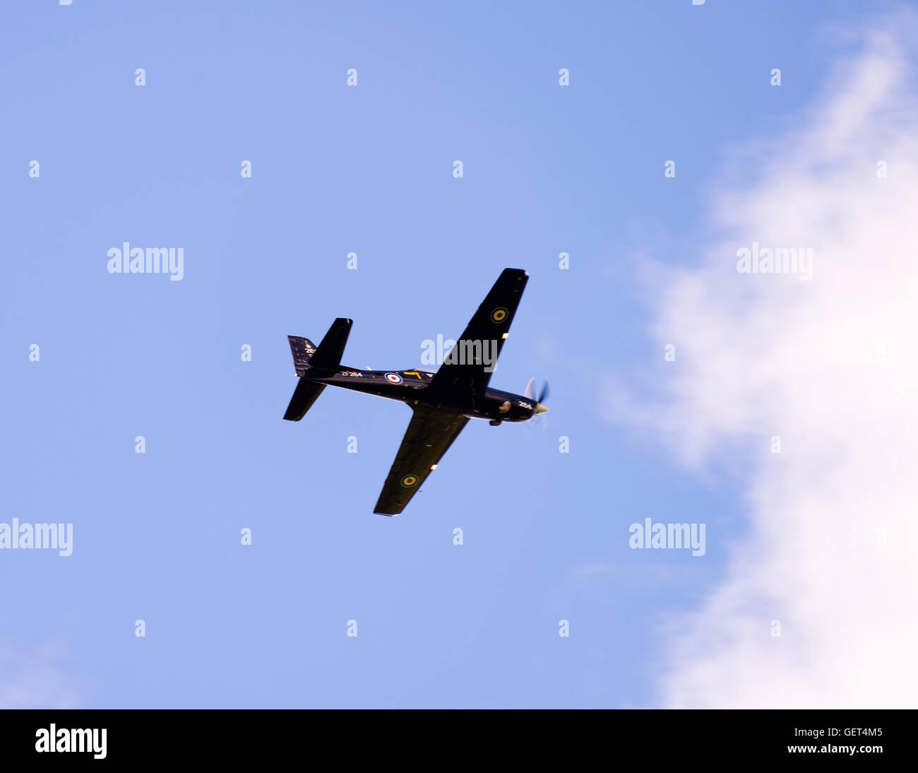 An RAF Tucano T1 Pilot Training Turboprop Aircraft In Flight Over Yorkshire Dales National Park England United Kingdom - Stock Image