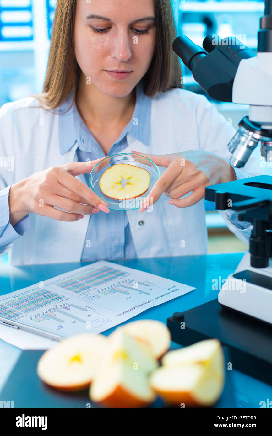 Inspection of fruits and vegetables for harmful substances - Stock Image