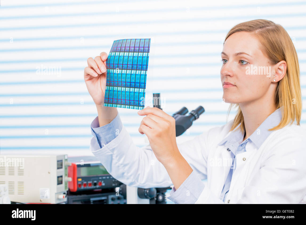 Testing negative for microchip manufacturing - Stock Image