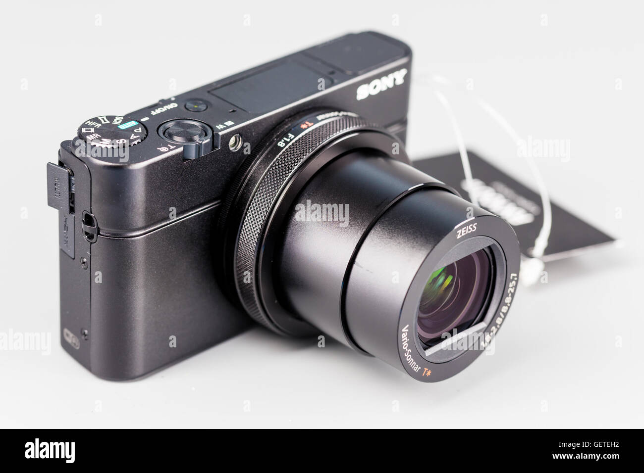 Berlin, Germany - July 20, 2015 : studio shot of 4k hi-speed camera Sony DSC-RX100 IV. - Stock Image