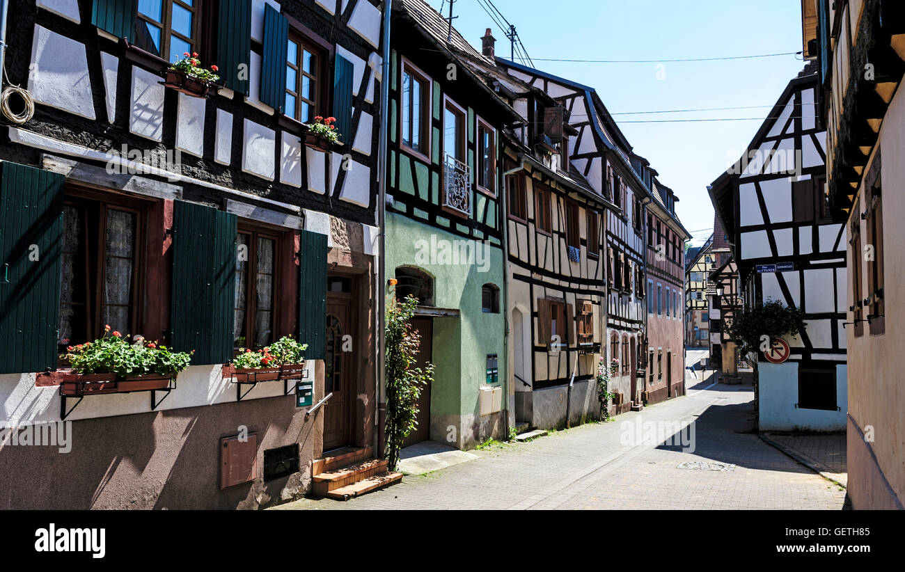 Centuries old half timbered houses in Bauxwiller in the Alsace region of France. Stock Photo