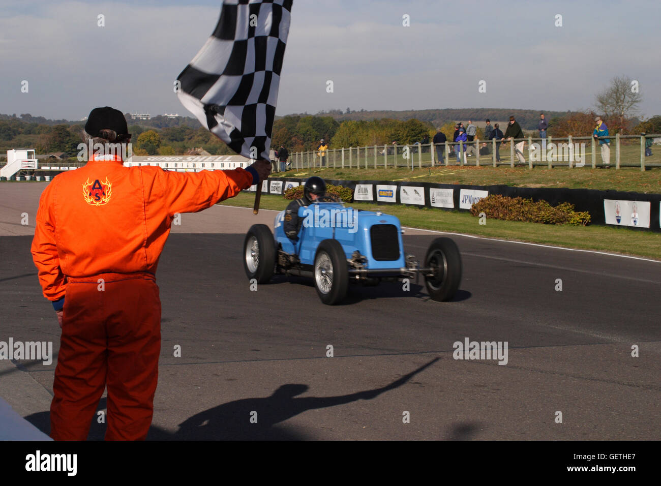 Race Cars Finish Line Stock Photos Pinewood Derby Lamps Crossing The At A Vintage Sports Car Club Event Goodwood