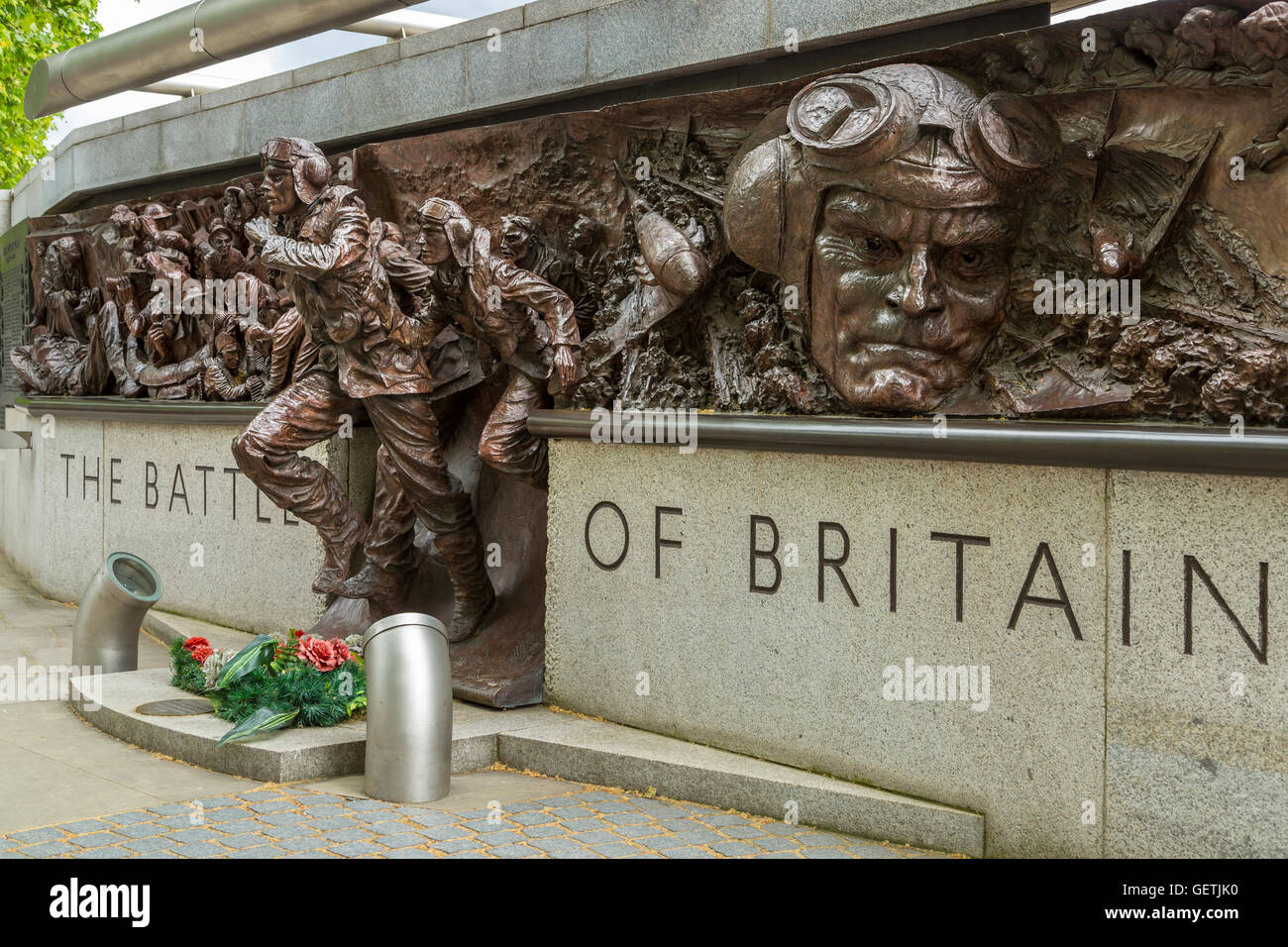 The Battle of Britain memorial on the Victoria Embankment in London. - Stock Image