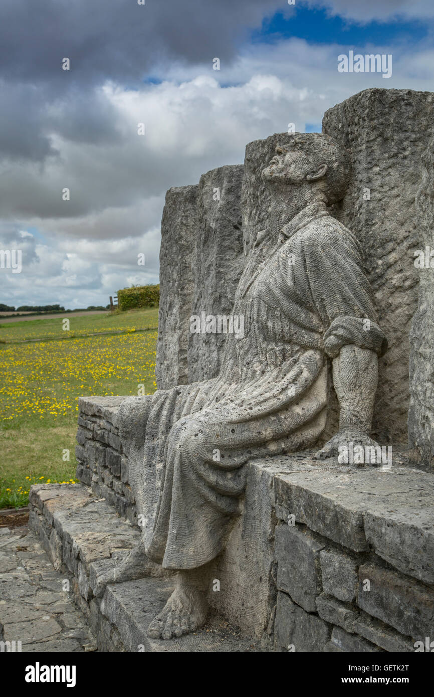 Sculpture knwn as the Tolpuddle Six which features George Loveless staring at the sky in despair. - Stock Image