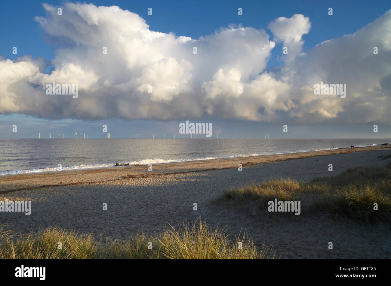A view of the beach at Caister on Sea. Stock Photo
