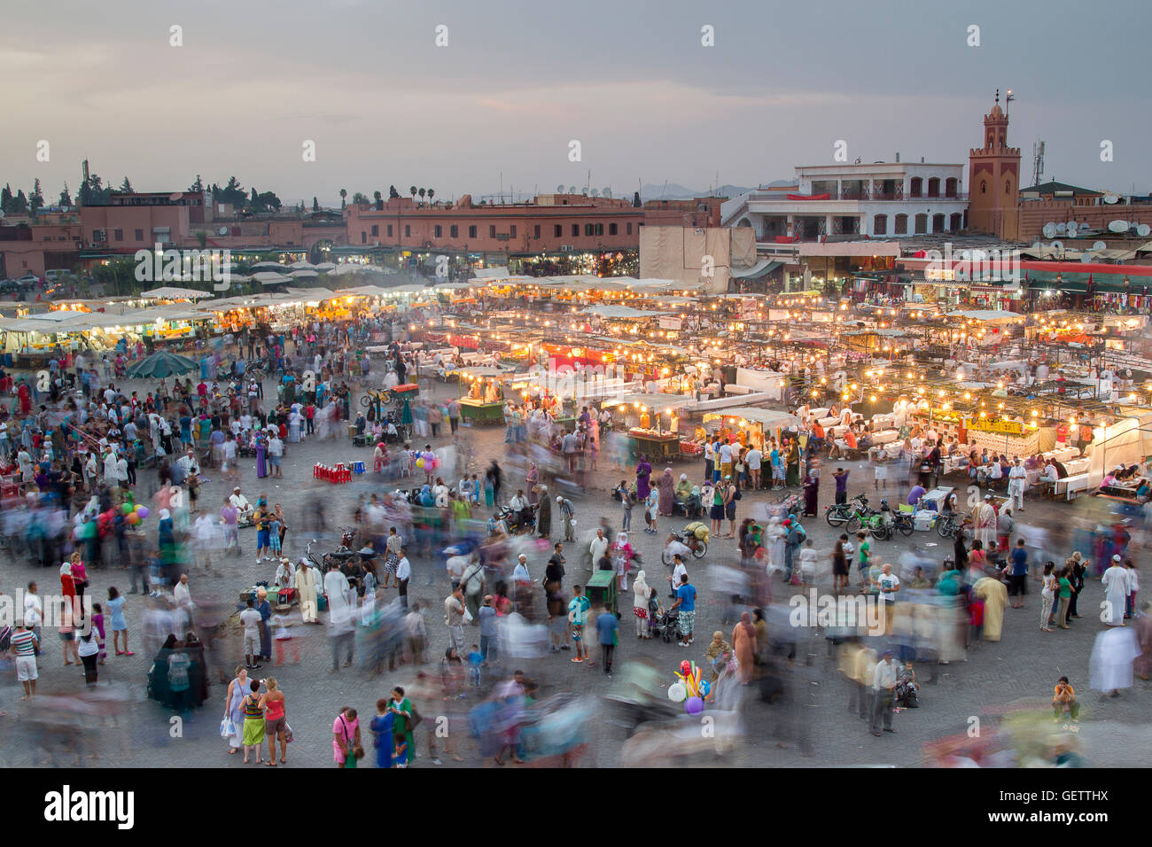 Motion blur of the bust Jemaa el Fna square in Marrakesh. - Stock Image