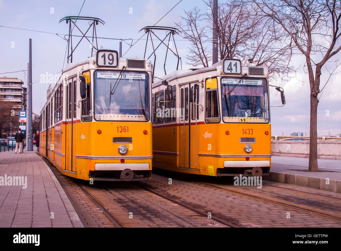Pair of trams at the end of the line in Budapest. Stock Photo