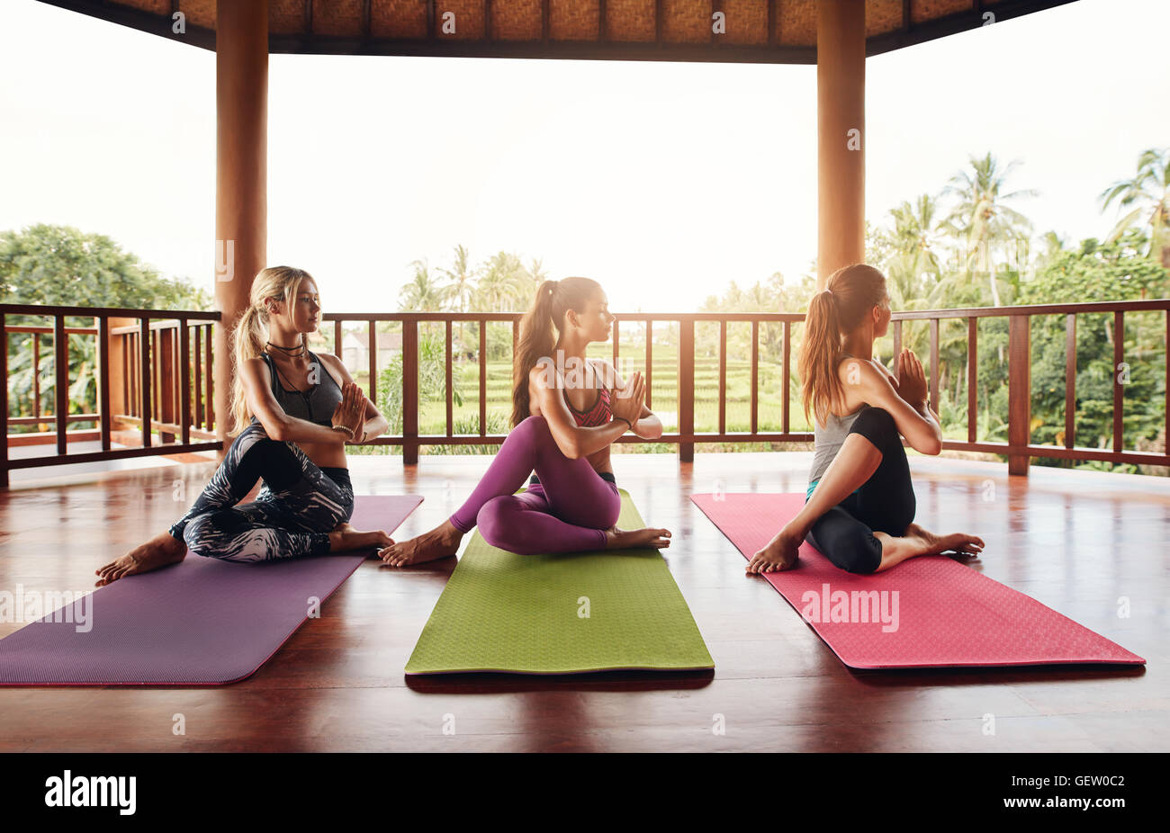 Healthy young women practicing half spinal twist yoga. Group of female doing yoga in yoga class. Ardha Matsyendrasana. - Stock Image